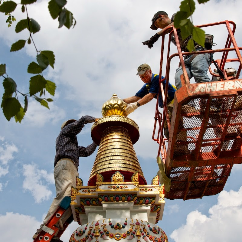 Placing top knot on Kadampa Stupa, Kadampa Center, May 2013