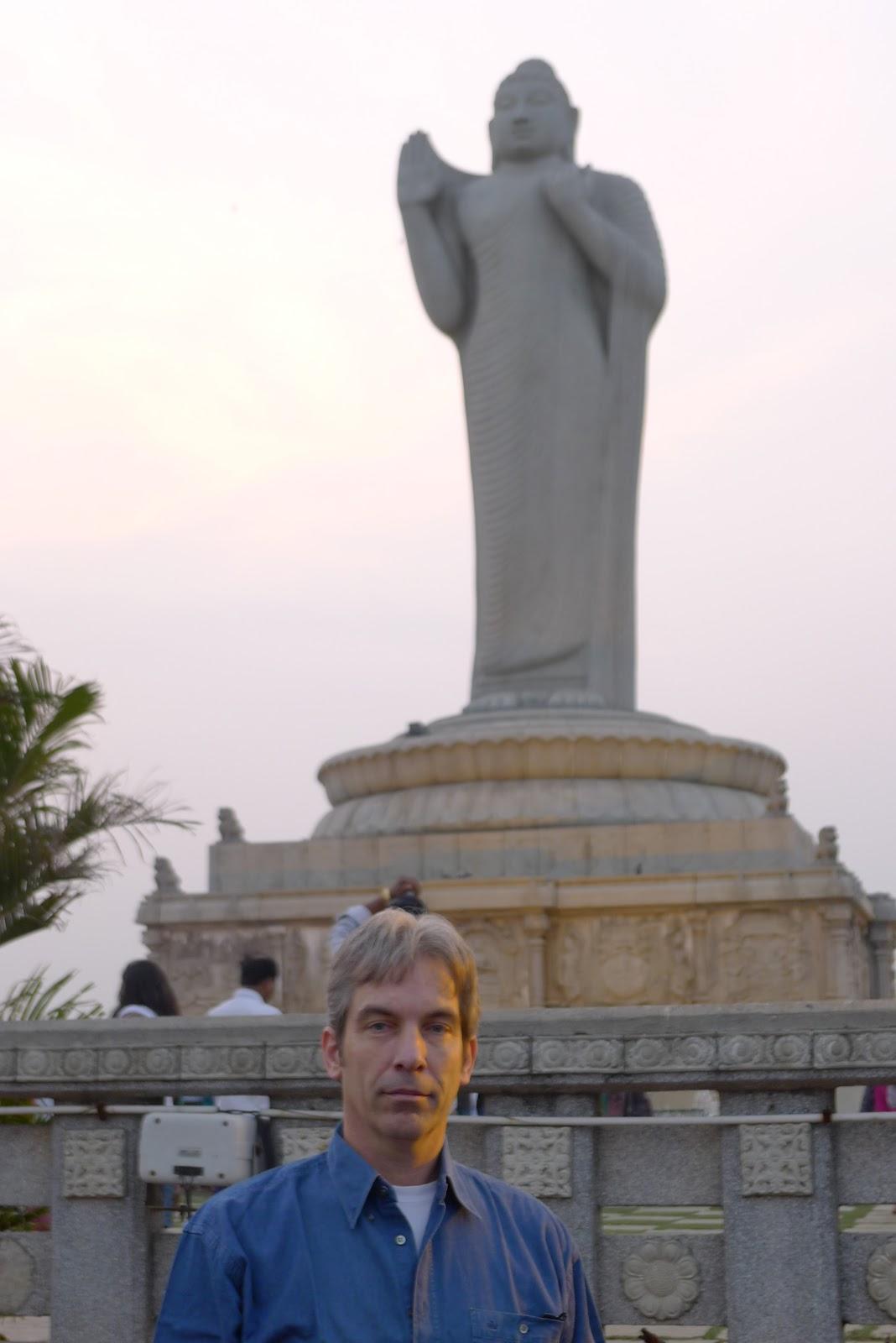 The Buddha in the center of Hyderabad's Hussain Sagar lake (world's tallest monolith of Gautama Buddha)
