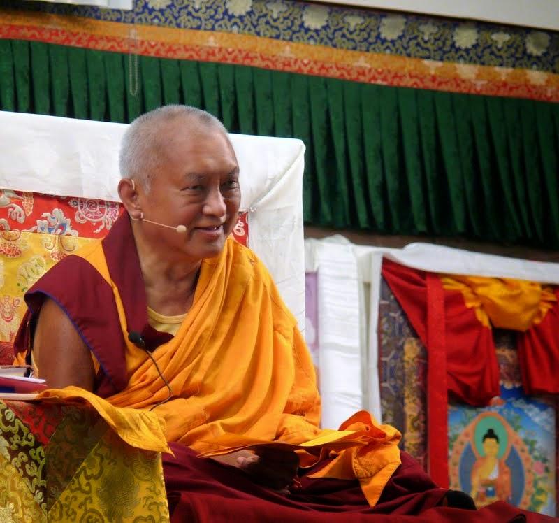 Lama Zopa Rinpoche teaching at Light of the Path retreat, North Carolina, US, May 2014. Photo by Kalleen Mortensen.
