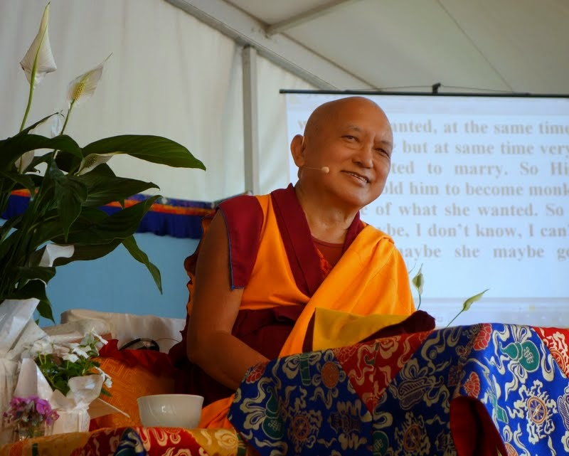Lama Zopa Rinpoche teachings at Istituto Lama Tzong Khapa, Pomaia, Italy, June 28, 2014. Photo by Ven. Roger Kunsang.