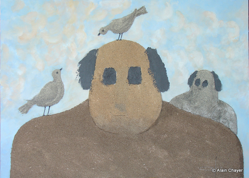 170 - Conversation - 2007 100 x 73 - Sable et acrylique sur toile