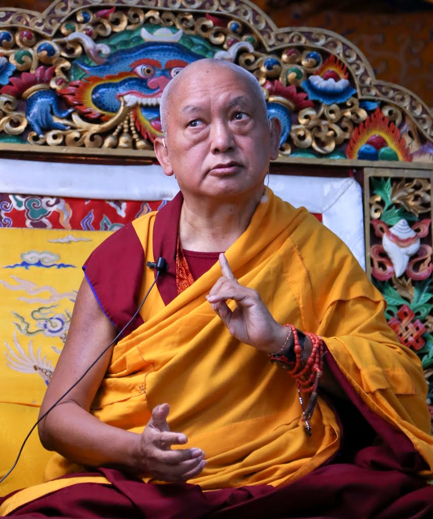 Lama Zopa Rinpoche teaching at Kopan Monastery during the month-long lam-rim course, Nepal, December 2014. Photo by Ven. Thubten Kunsang.