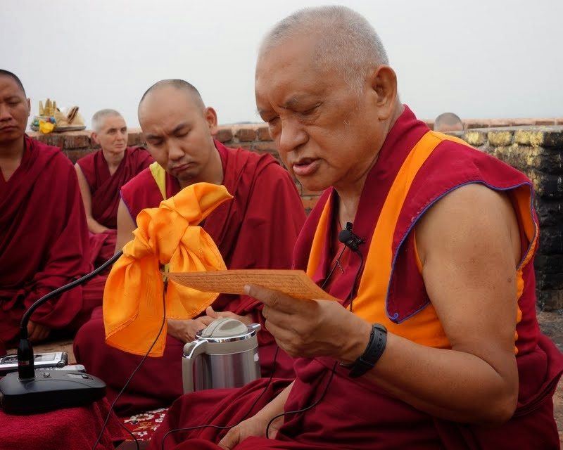 Lama Zopa Rinpoche giving an oral transmission of the Vajra Cutter Sutra on Vulture's Peak, India, March 2014. Photo by Ven. Roger Kunsang.