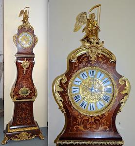 Красивые напольные часы 19-й век. Ценные породы дерева, маркетри с цветочным узором, резная позолоченная бронза. Отбивают пол часа и полный час. Высота 270 см. 15000 евро.