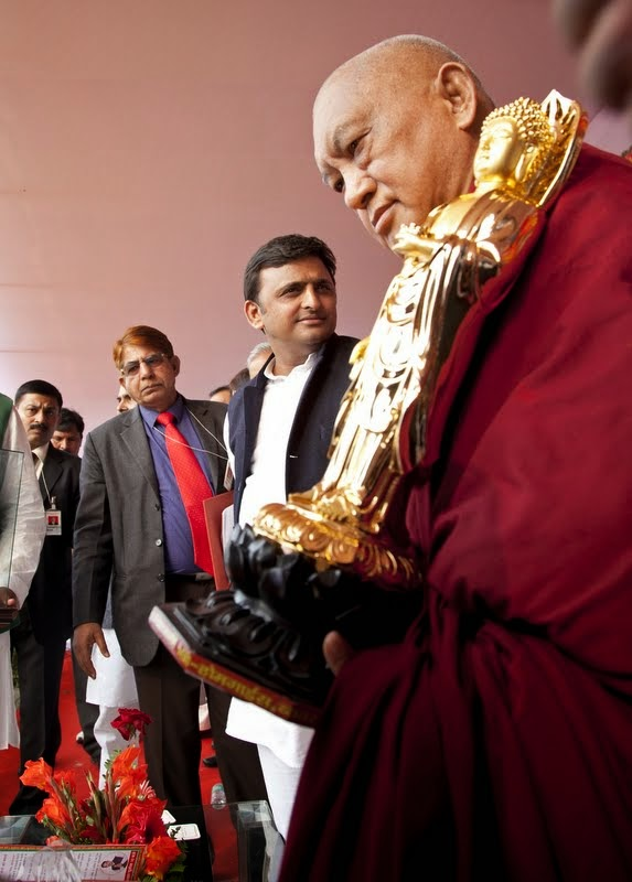 Lama Zopa Rinopche at ceremony for Maitreya Project, Kushinagar, India, December 13, 2013. Photo by Andy Melnic.