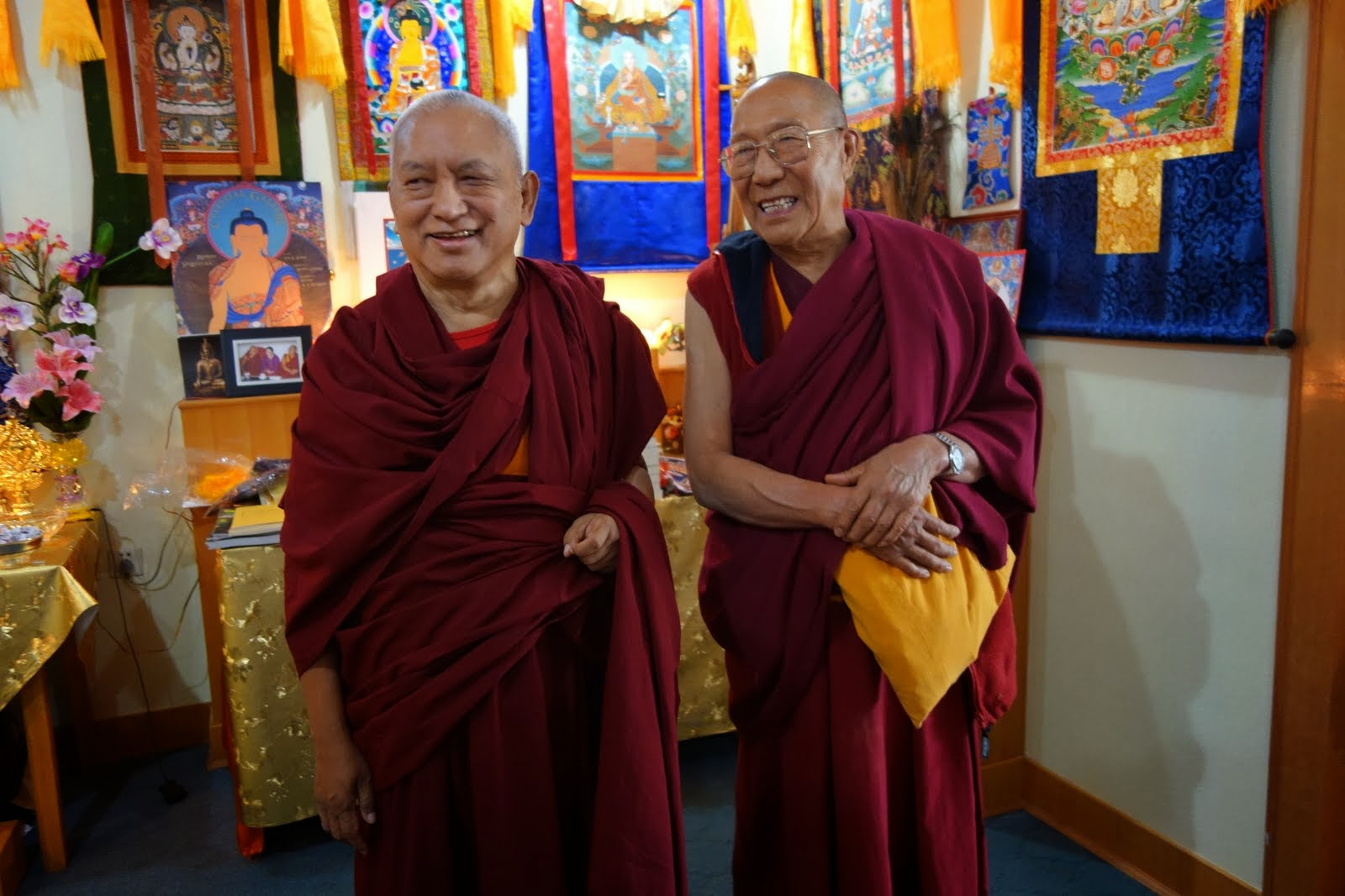 Panchen Otrul Rinpoche and Lama Zopa Rinpoche meeting for a relaxed lunch together at Shedrup Ling Ulaan Bataar. Panchen Otrul has been coming to Mongolia to teach and help with social work, especially for the poor, since 1995. Rinpoche is based in Ireland.Sep 9, 2013. Photo by Ven. Roger Kunsang.