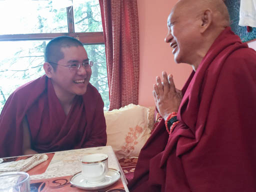 H.E. Ling Rinpche and Lama Zopa Rinpoche at Tushita Meditation Centre, Dharamsala, India, March 30, 2015. Photo by Ven. Roger Kunsang.