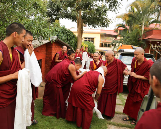 Lama Zopa Rinpoche arriving in Bangalore, India, January 2015. Photo by Ven. Thubten Kunsang.