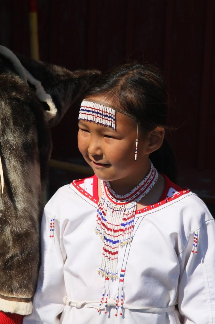 Inuit girl in traditional costume