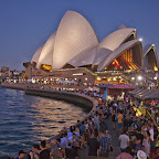 Sydney Opera house peninsula gets busy by night