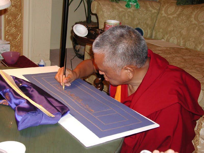 Lama Zopa Rinpoche writing the Sangatasutra in Deer Park, USA