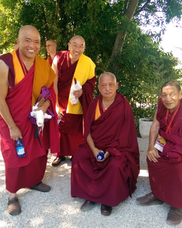 Geshe Tenphel, Geshe Gelek, Lama Zopa Rinpoche and Lama Monlam, Istituto Lama Tzong Khapa, Italy, June 10, 2014. Photo by Ven. Roger Kunsang.