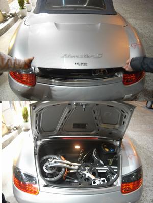STrida in Porsche Boxter Sportscar - fits like a golf bag
