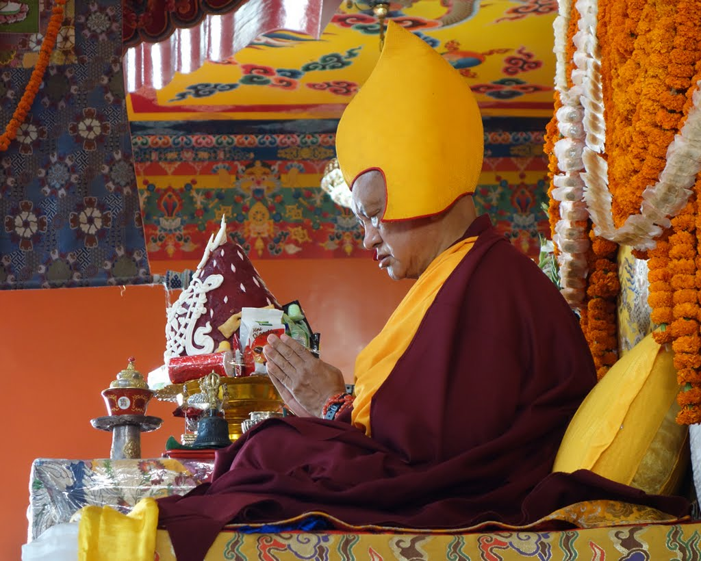 Lama Zopa Rinpoche during the long life puja offered on behalf of the entire FPMT organization at Kopan Monastery, December 12, 2014. Photo by Ven. Roger Kunsang.