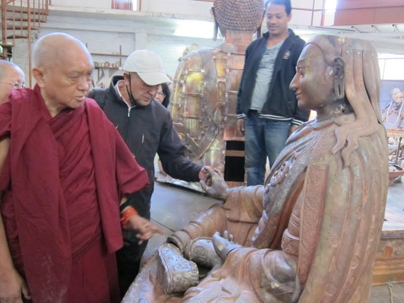 Sangay and Lama Zopa Rinpoche checking the progress of the Padmasambhava statues for Lawudo
