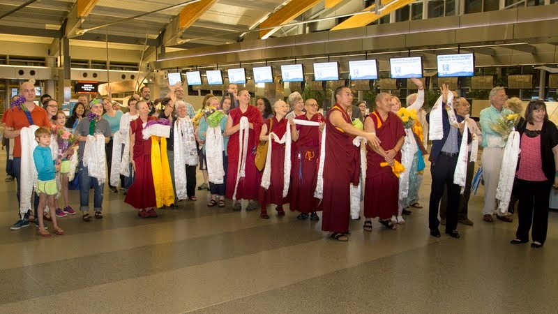 Welcoming Lama Zopa Rinpoche's arrival in North Carolina, US, April 30, 2014. Photo by David Strevel.