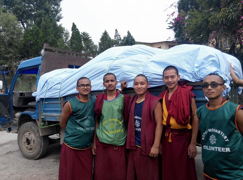 Young monks of Kopan Monastery doing relief work.