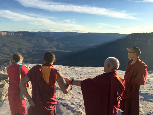 Lama Zopa Rinpoche taking in the view, Blue Mountains, New South Wales, Australia, June 2015. Photo by Ven. Thubten Kunsang.