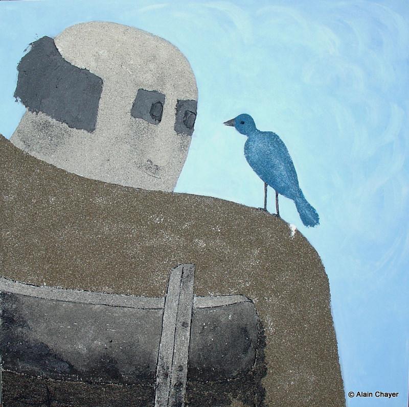 167 - L'oiseau bleu - 2006 80 x 80 - Sable et acrylique sur toile