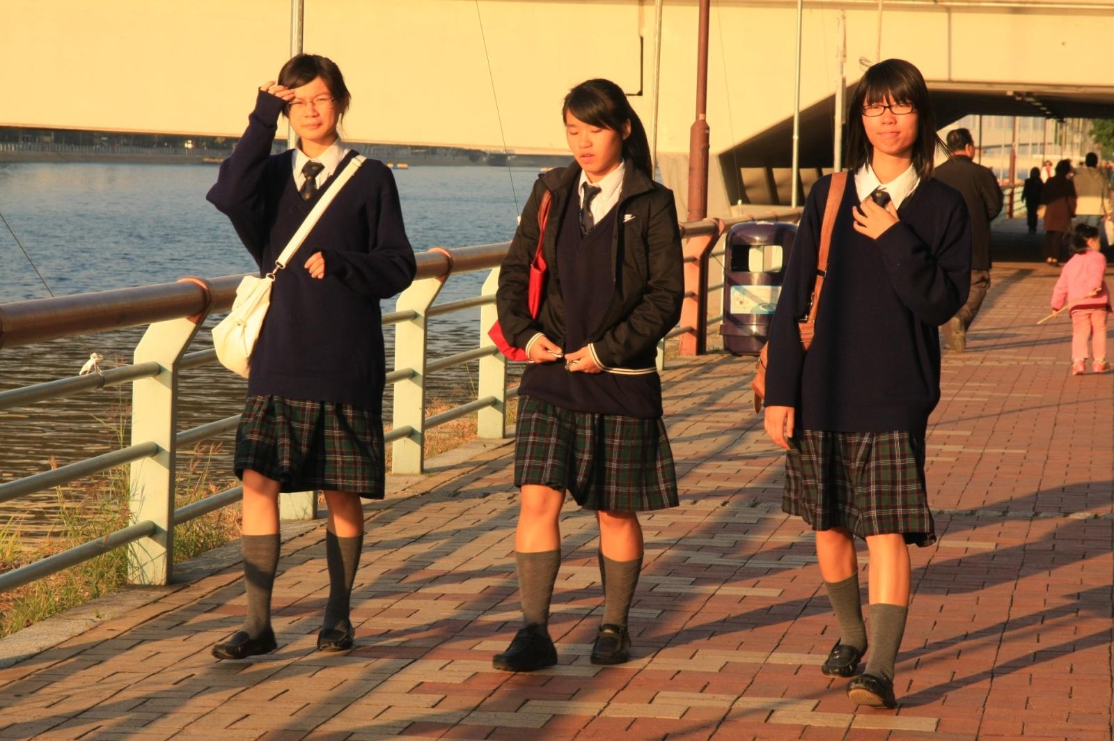 Chinese schoolgirls seem to have some Scottish influence