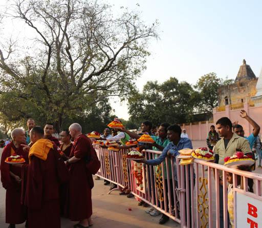 Lama Zopa Rinpoche at the Mahabodhi Stupa, Bodhgaya, India, February 2015. Photo by Ven. Thubten Kunsang.
