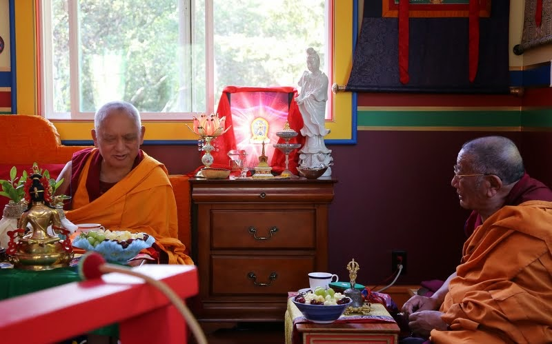 Lama Zopa Rinpoche with Geshe Dakpa, resident Geshe at Tse Chen Ling, at Kachoe Dechen Ling, Aptos, California, May 2014. Photo by Ven. Thubten Kunsang.