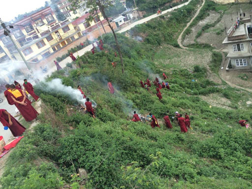 Kopan monks getting to work after the earthquake, Kathmandu, Nepal, April 2015