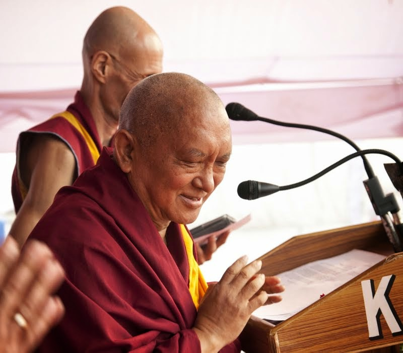 Lama Zopa Rinpoche at Maitreya Project Foundation Stone Laying Ceremony, Kushinagar, India, December 13, 2013. Photo by Andy Melnic.