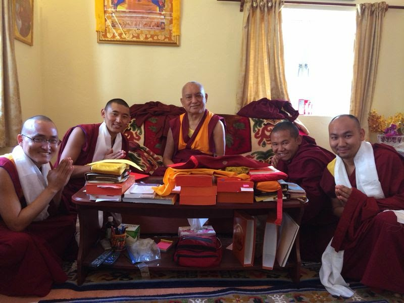 Lama Zopa Rinpoche with Ven.Sherab, Ven. Sangpo, Ven. Yonten and Ven. Tendar, Losar 2014 at Root Institute, Bodhgaya, India.