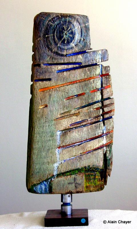 078 - Cyclope - 1997 H 72 x 33  Sculpture bois polychrome