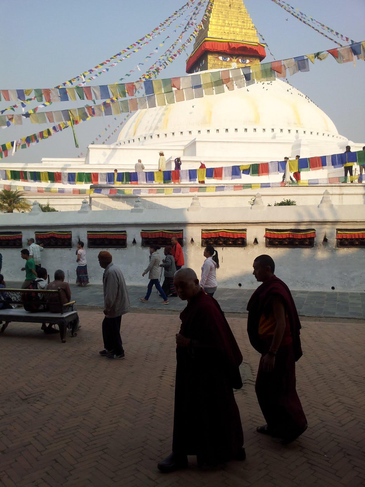 Rinpoche circumambulating Bouddha Stupa. 21 April 2013. Photo by Ven. Roger Kunsang.