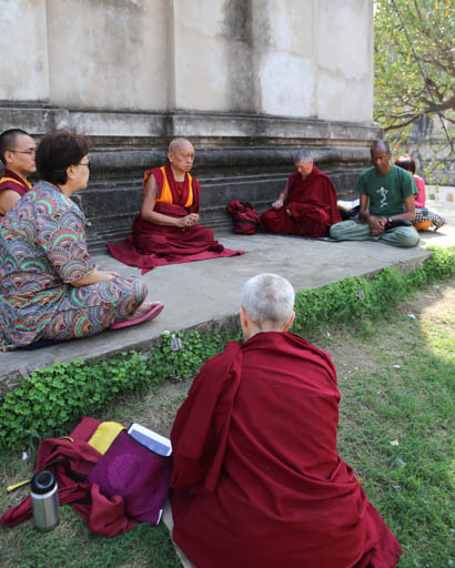 Lama Zopa Rinpoche at Mahabodhi Stupa, Bodhgaya, India, March 2015. Photo by Ven. Thubten Kunsang.