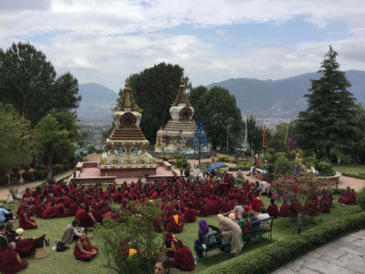 Lama Zopa Rinpoche, monks and Western visitors all gathered outside after the April 25 earthquake, Kopan Monastery, Nepal, April 2015. Photo by Ven. Sarah Thresher.