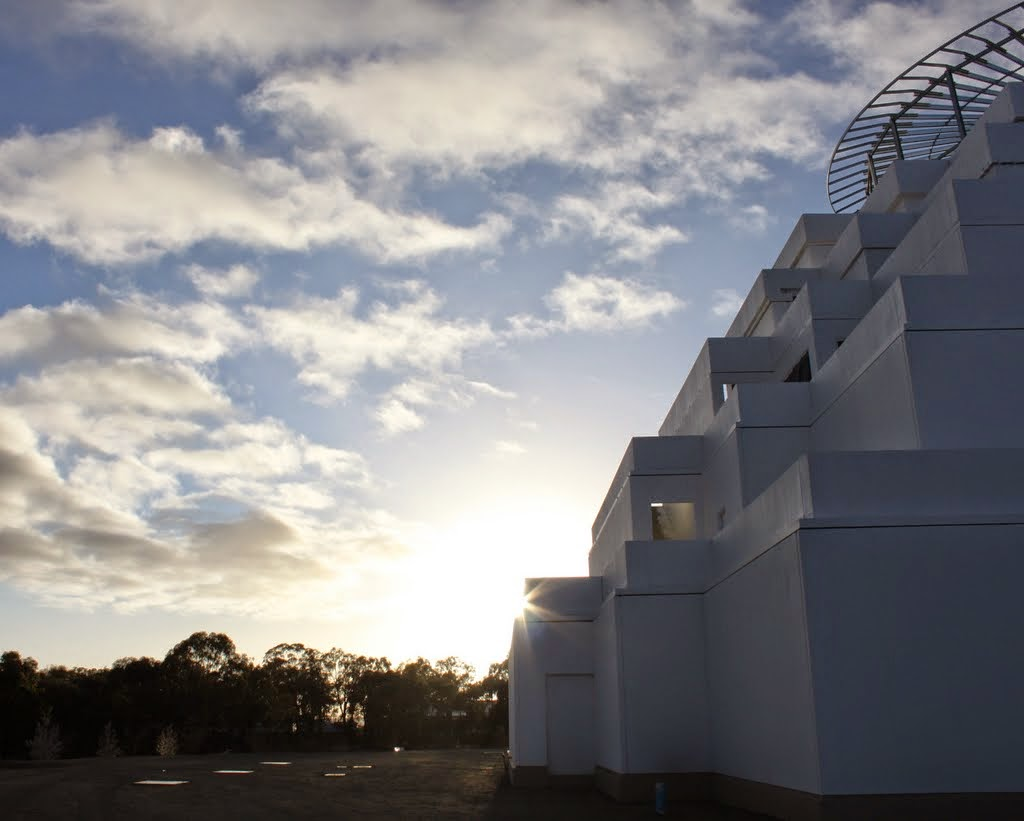 The morning sun at the Great Stupa of Universal Compassion, Bendigo, Victoria, Australia, September 2014. Photo by Laura Miller.