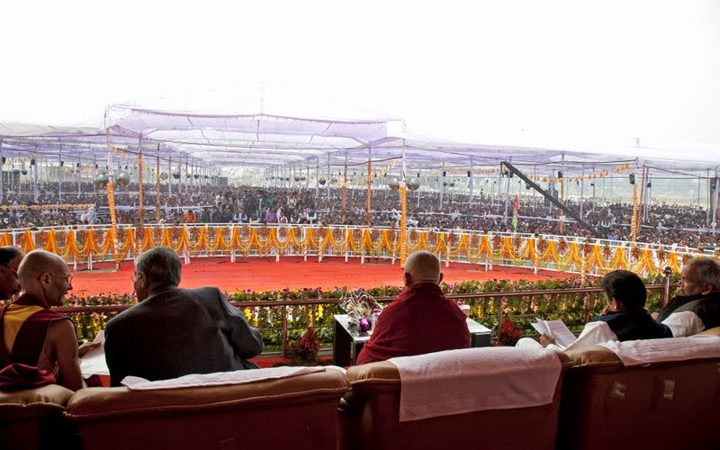 A view from the stage, Maitreya Project Foundation Stone Laying Ceremony, Kushinagar, Uttar Pradesh, India, December 13, 2013. Photo by Andy Melnic.
