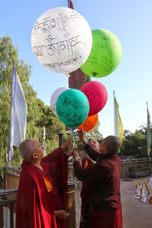 Lama Zopa Rinpoche releasing prayers and mantras into the sky, Kachoe Dechen Ling, Aptos, California, May 2014. Photo by Ven. Thubten Kunsang.