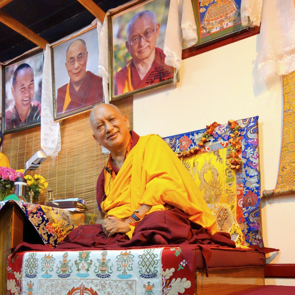 "Lama Zopa Rinpoche at Choe Khor Sum Ling Study Group, Bangalore, India, March 2014. Photo by Ven. Roger Kunsang. Rinpoche said: ""True lasting happiness comes from within. ... Satisfaction and contentment are mental states. ... These inner qualities don't depend on outside things."""