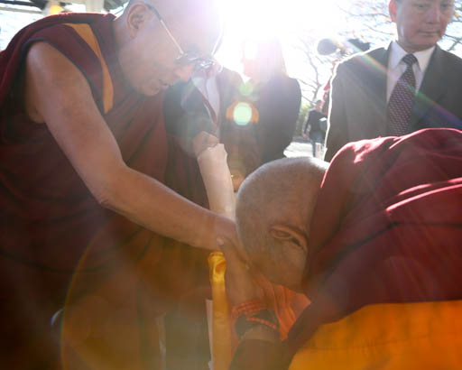 His Holiness the Dalai Lama being greeted by Lama Zopa Rinpoche, Blue Mountains, New South Wales, Australia, June 2015. Photo by Ven. Thubten Kunsang.
