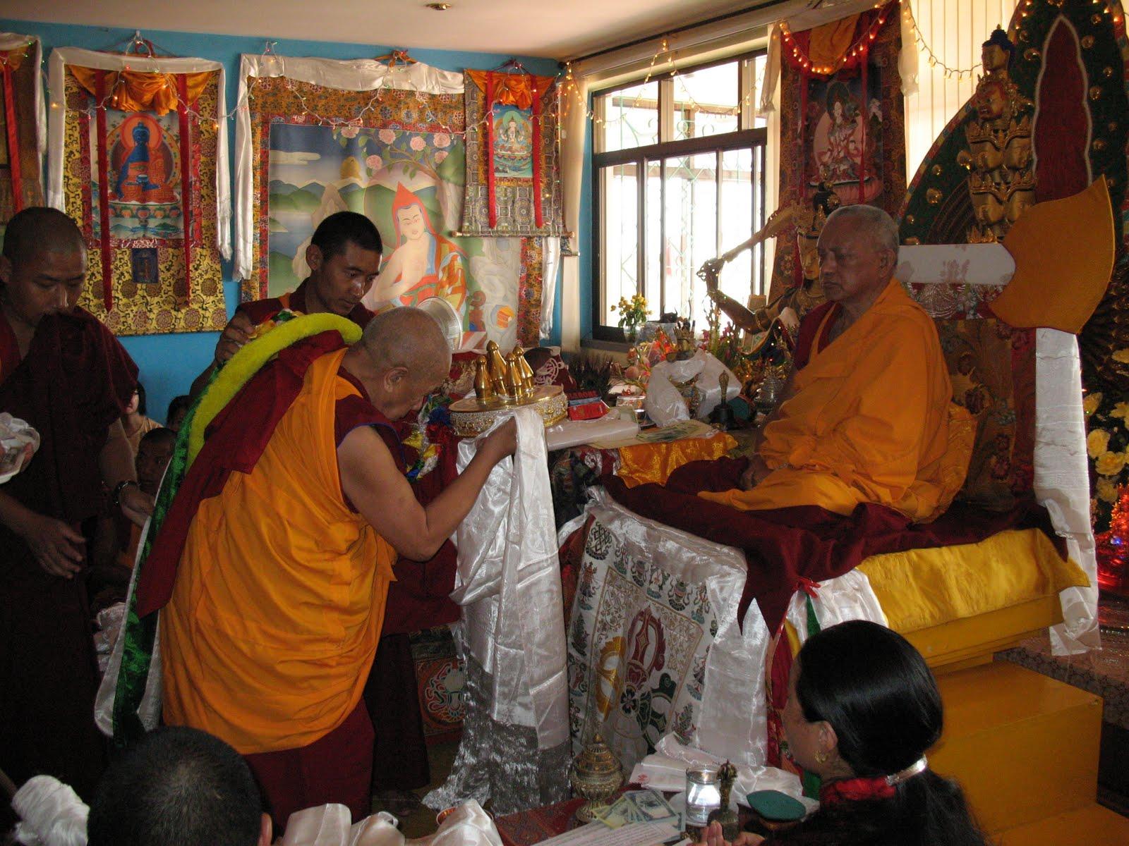 Lama Lhundrup during special long life puja to Lama Zopa Rinpoche, Kopan Monastery, June 2009.
