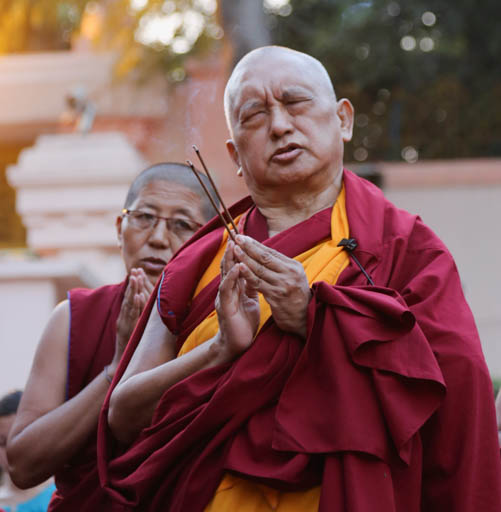 Lama Zopa Rinpoche at Mahabodhi Stupa, Bodhgaya, India, February 2015. Photo by Ven. Thubten Kunsang.