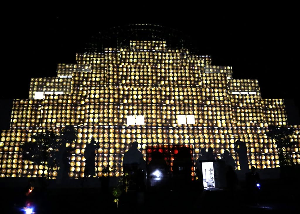 Light offering projected on to the exterior of the Great Stupa of Universal Compassion, Australia, October 2014. Photo by Ven. Thubten Kunsang.