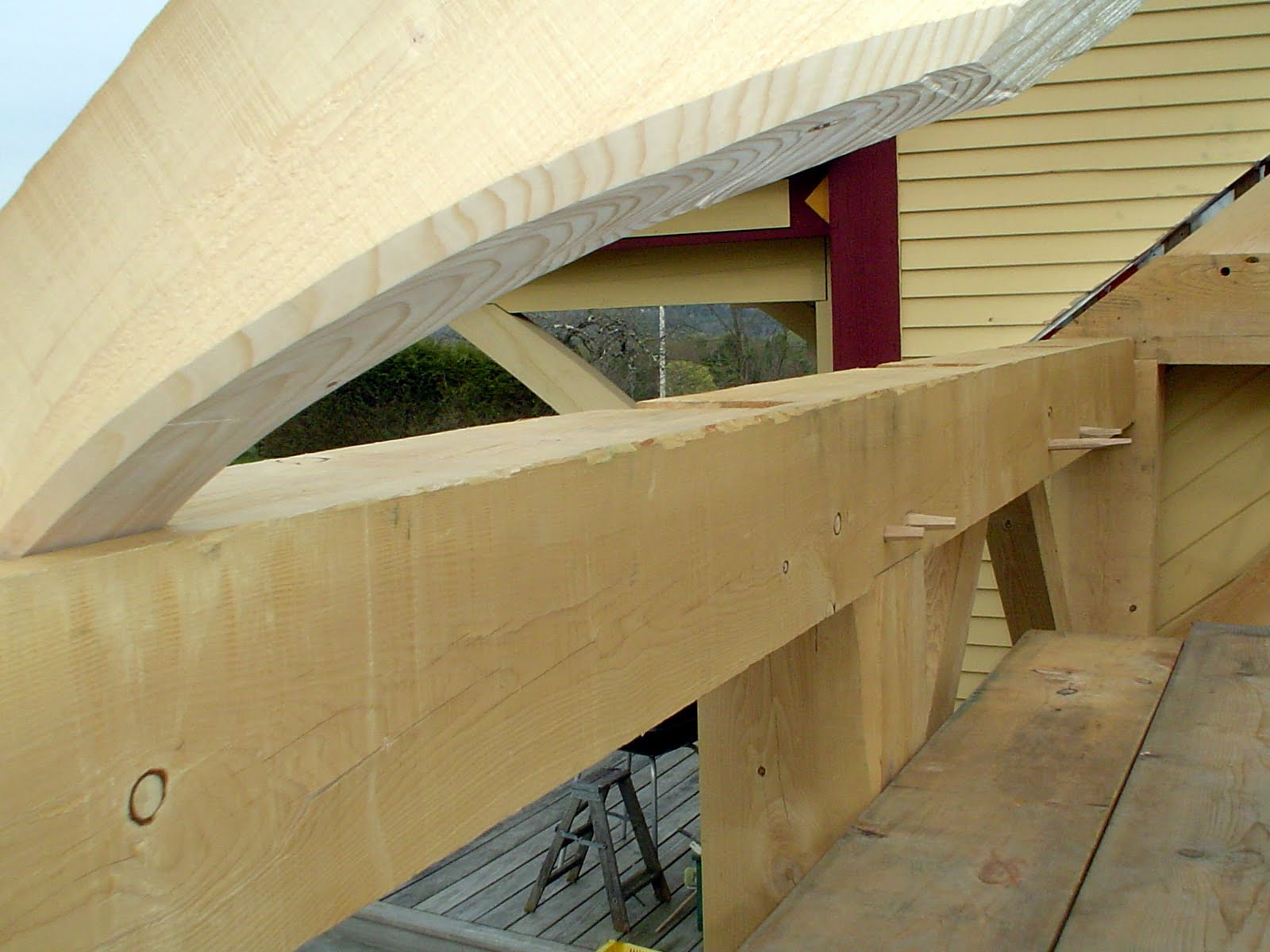 View through an adze swept rafter.