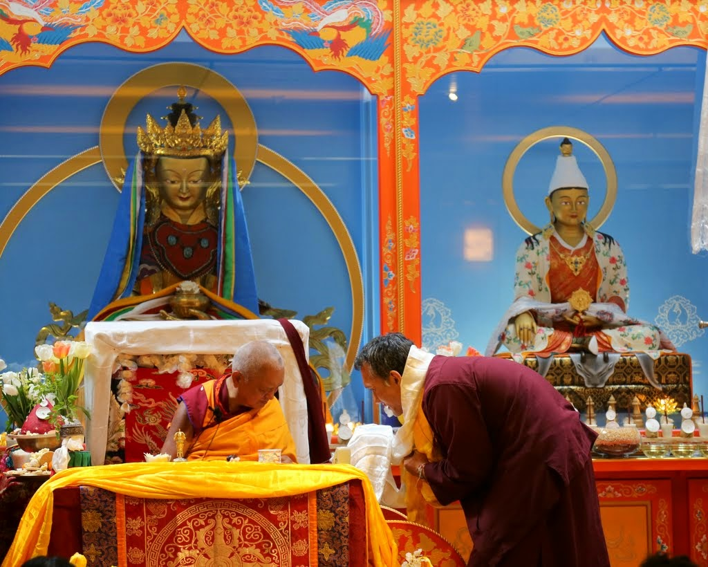 Lama Zopa Rinpoche with Yangsi Rinpoche in the Jokhong at Maitripa Collge, Portland, Oregon, US, April 2014. Photo by Ven. Thubtgen Kunsang.