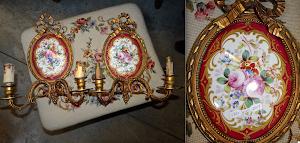 Пара настенных бра. 19-й век. Фарфор, бронза.