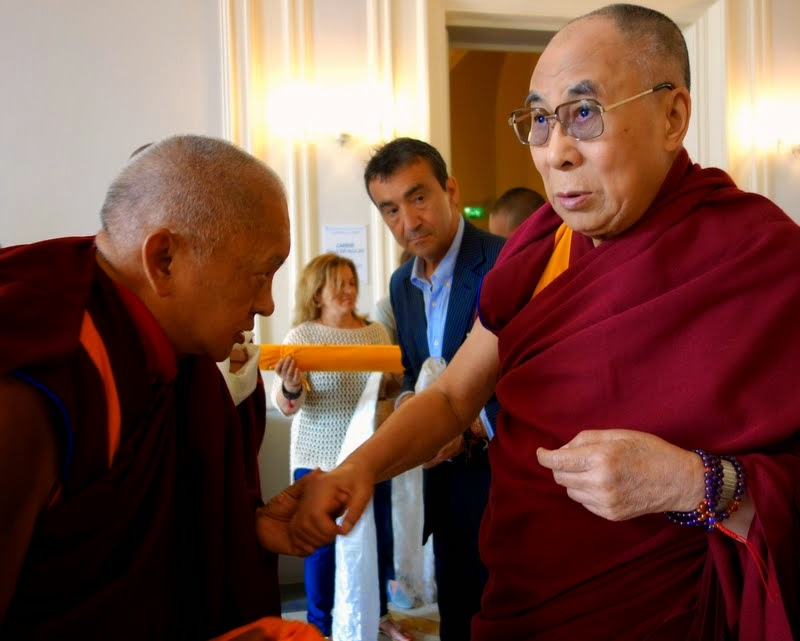 His Holiness the Dalai Lama with Lama Zopa Rinpoche, Fabrizio Pallotti looking on, Livorno, Italy, June 15, 2014. Photo by Ven. Roger Kunsang.