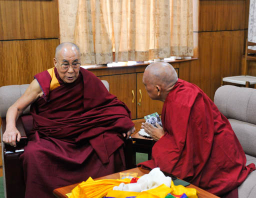 His Holiness the Dalai Lama with Lama Zopa Rinpoche, Dharamsala, India, March 30, 2015. Photo courtesy of the Office of His Holiness the Dalai Lama.