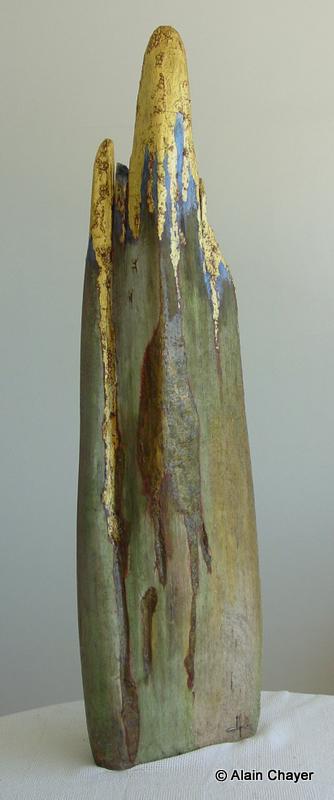 076 - Falaise d'Or - 1997 H 128,5 x 23 Sculpture bois doré et or
