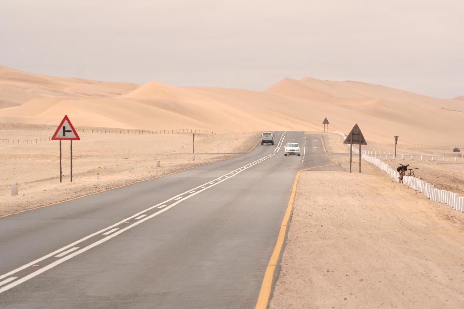 Road to Swakopmund along the coast