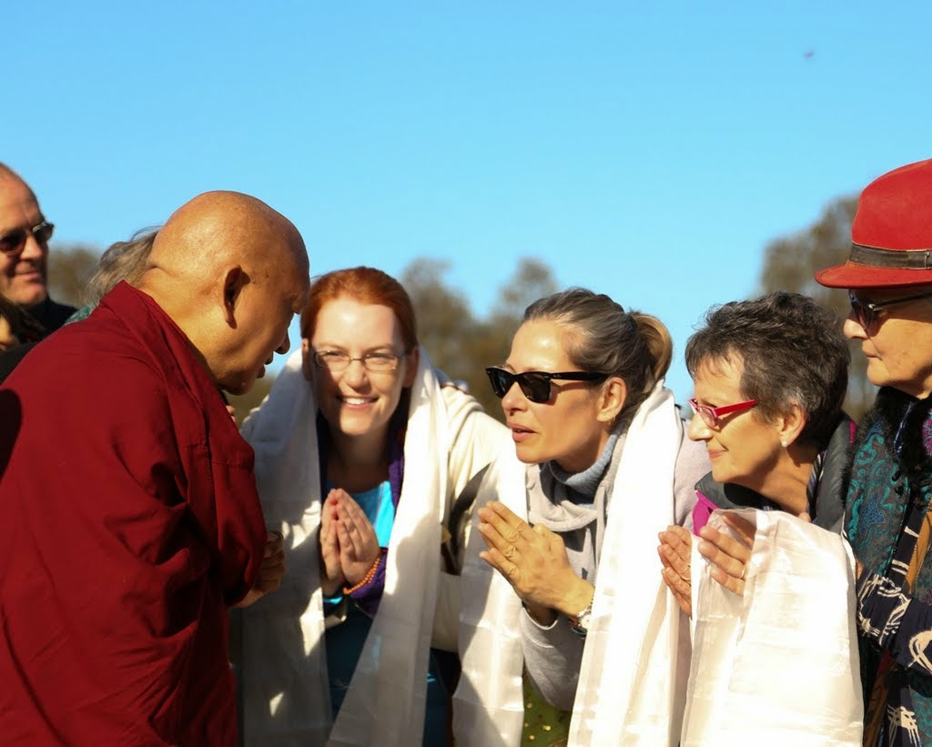 Students greeting Lama Zopa Rinpoche as he arrives at the Great Stupa of Universal Compassion, Australia, September 12, 2014. Photo by Ven. Thubten Kunsang.