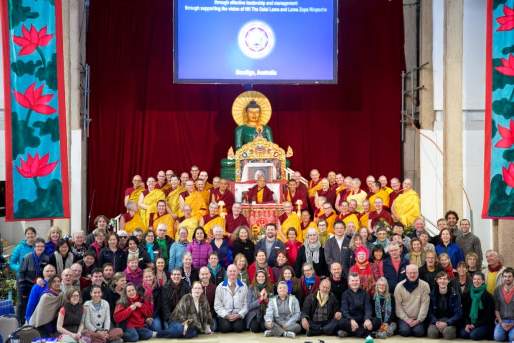 FPMT spiritual director Lama Zopa Rinpoche with CPMT 2014 meeting participants in the Great Stupa of Universal Compassion, Australia, September 2014. Photo by Steve Alberts.